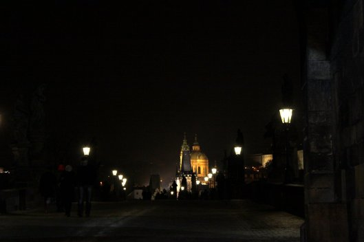 Prague by night Charles bridge